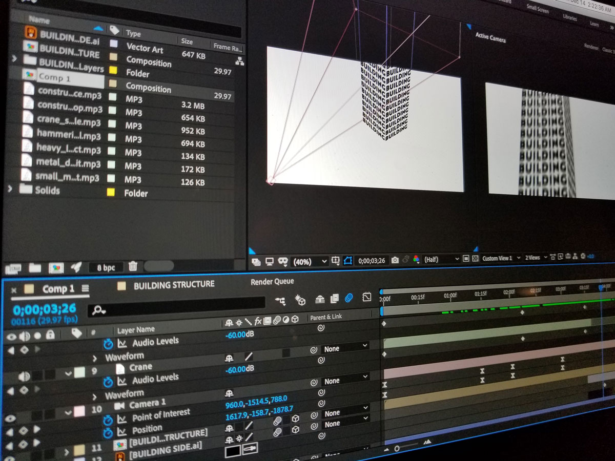 Build progress shot in After Effects